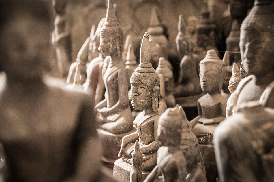 Buddhist figures in Pak Ou Caves, Laos