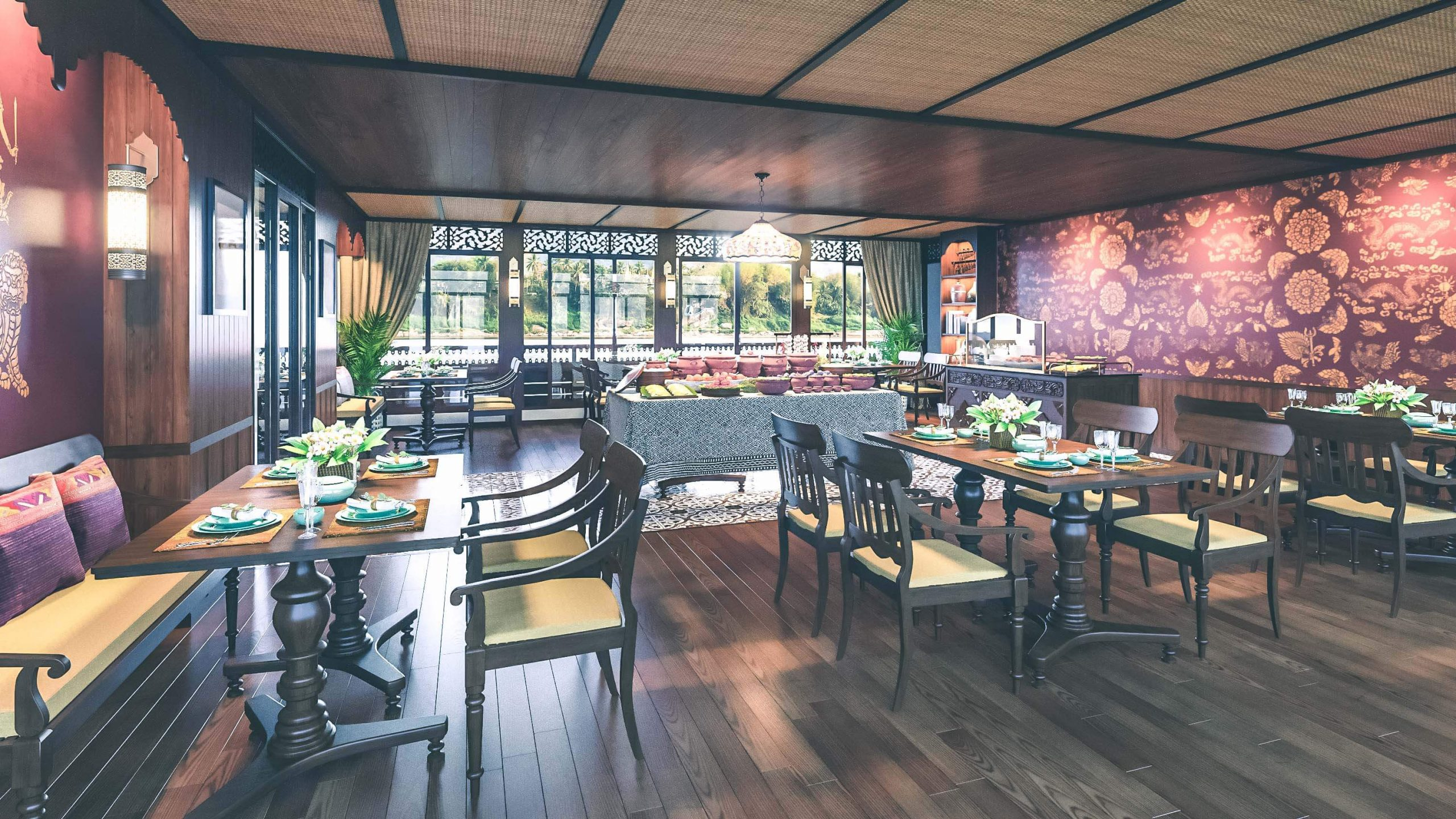 Dining Hall with magnificent river views aboard Anouvong