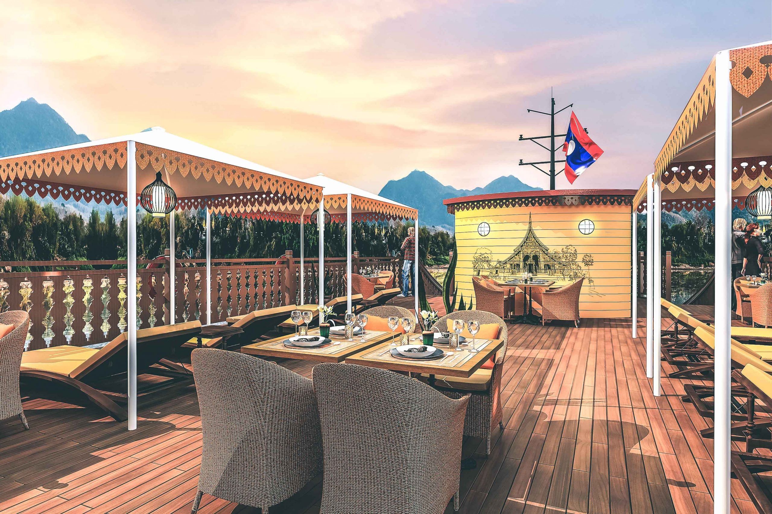 Anouvong's Terrace Deck with shaded loungers and dining tables