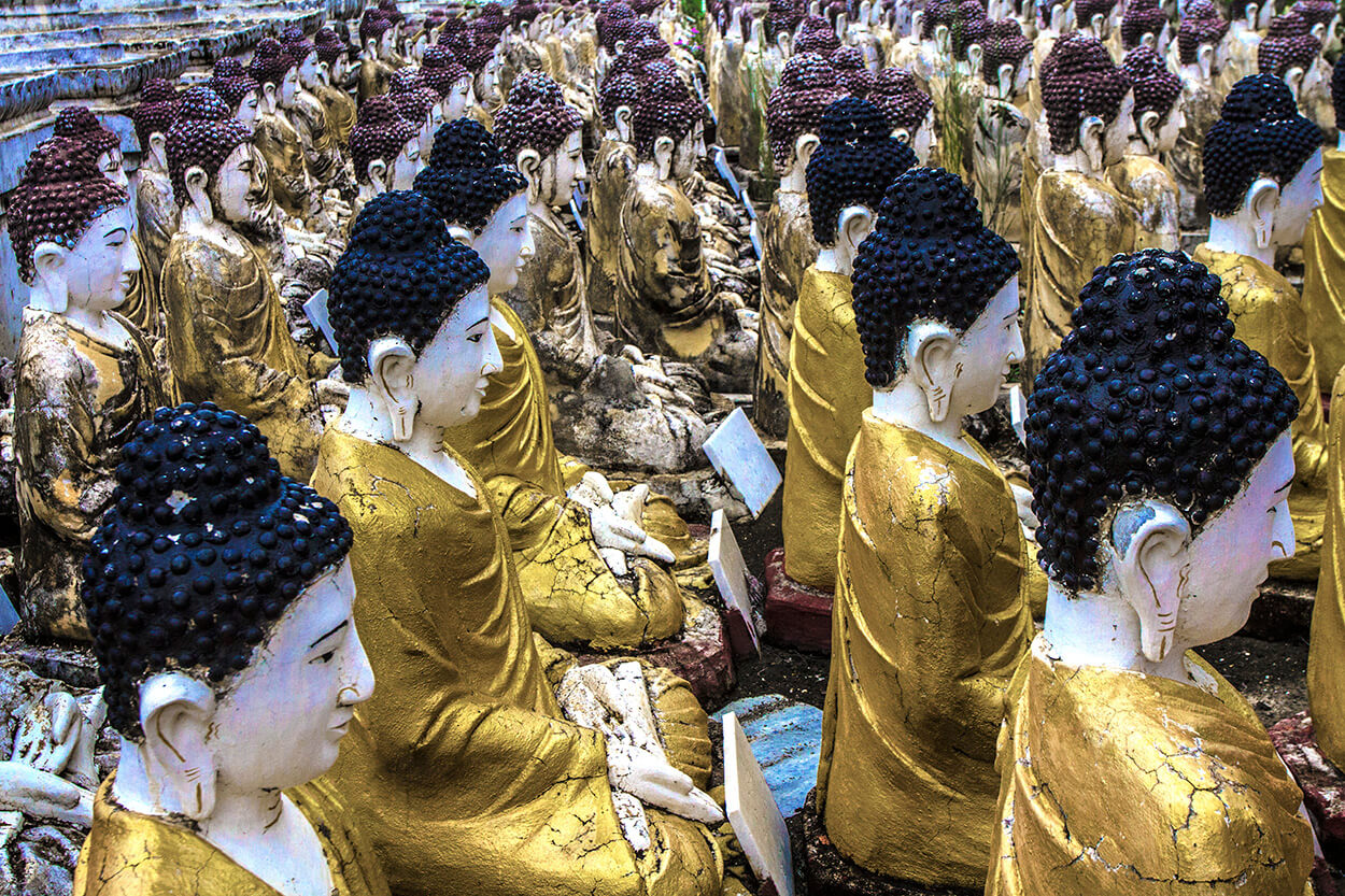 A field of Buddha statues at Maha Bodhi Tahtaung monastery in Monywa, Myanmar