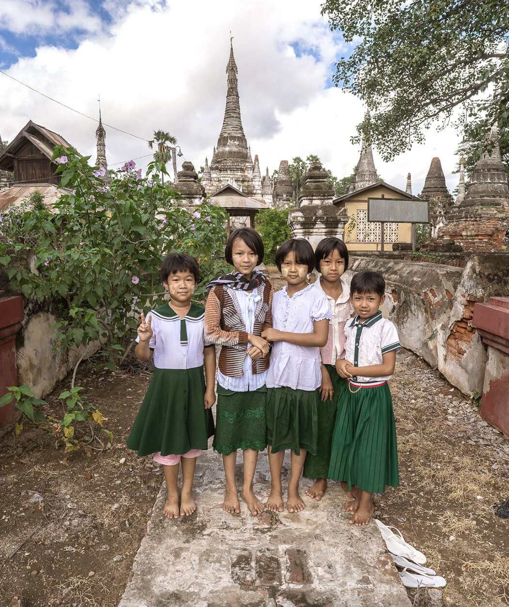 Burmese children at a local temple near the Chindwin River