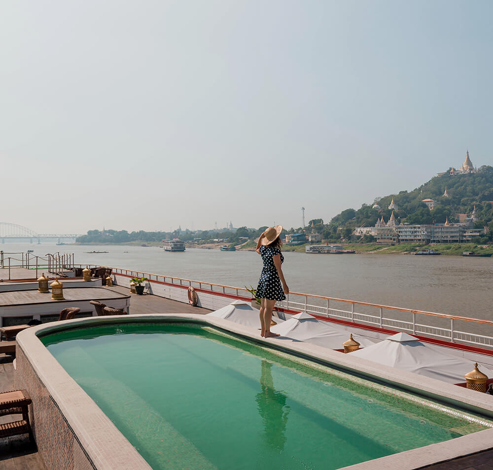 Anawrahta's sun deck features a pool along with fully panoramic views