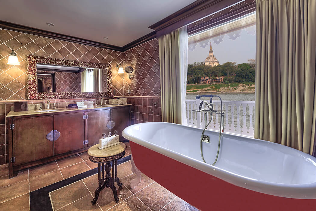 The luxurious Royal Suite Bathroom aboard Heritage Line Anawrahta