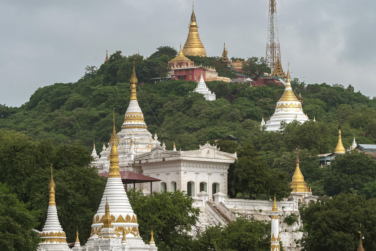 Sagaing Hill, topped with numerous pagodas and monasteries