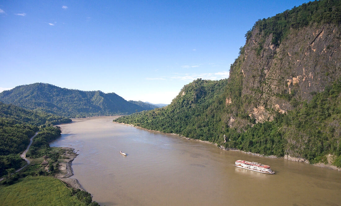 Heritage Line Anawrahta sails past the upper Ayeyarwady River's spectacular Second Defile