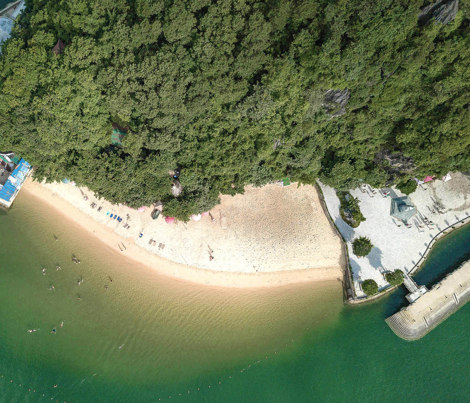 Swimming and relaxing on the beach at Halong Bay's Titop Island