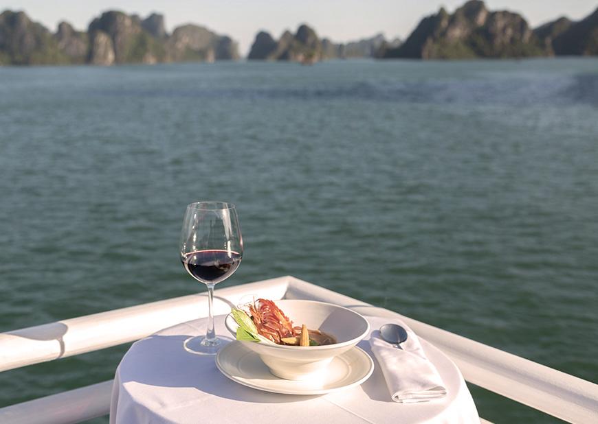 Al fresco dining in Halong Bay aboard Heritage Line Violet