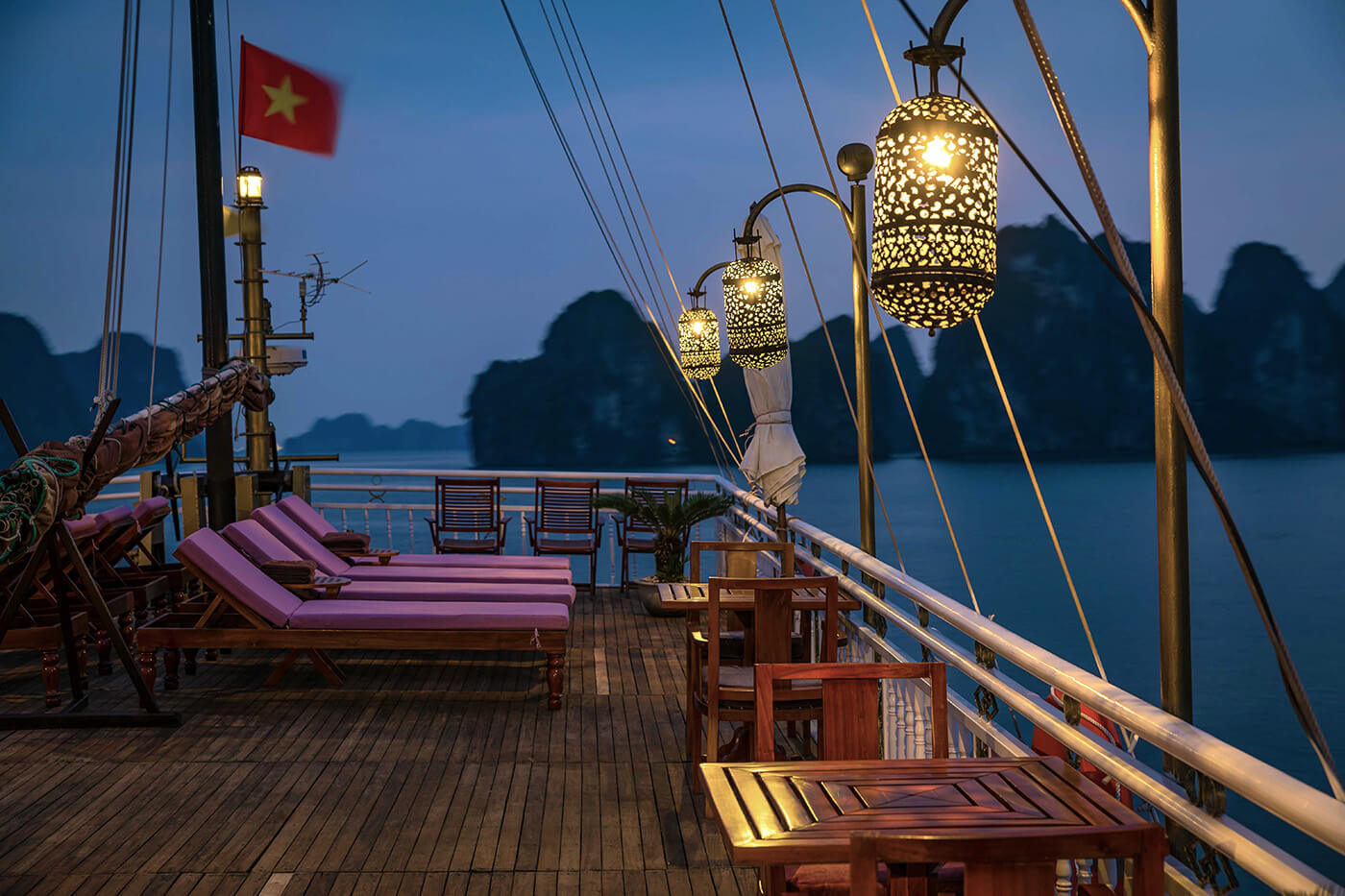 Halong Bay's sunset Blue Hour from Heritage Line Violet's sun deck