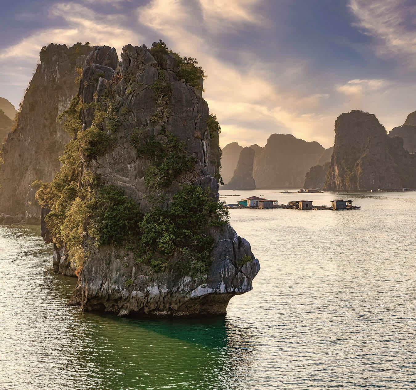 Spectacular rock formations in Lan Ha Bay, Vietnam