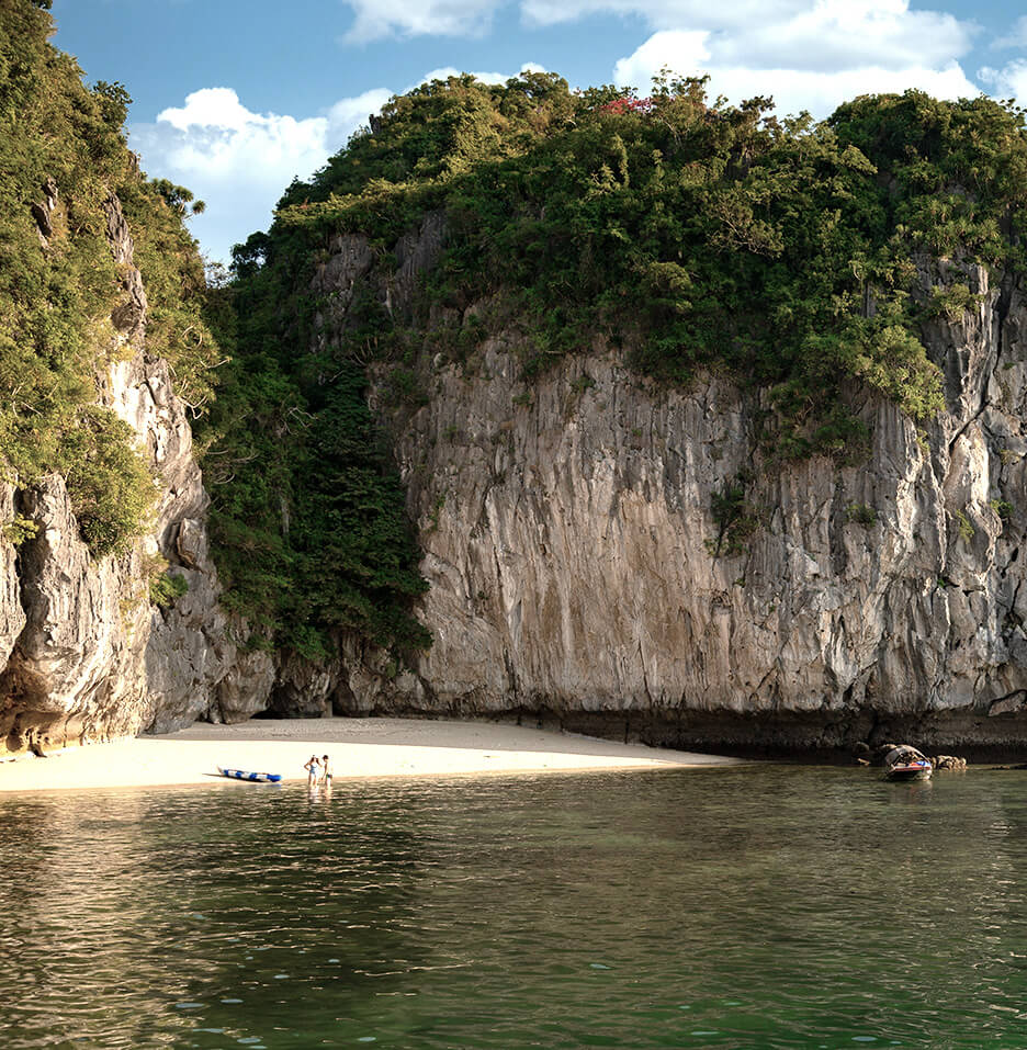 Ylang's 2-night Lan Ha Bay cruise includes a hidden island beach for swimming and relaxation