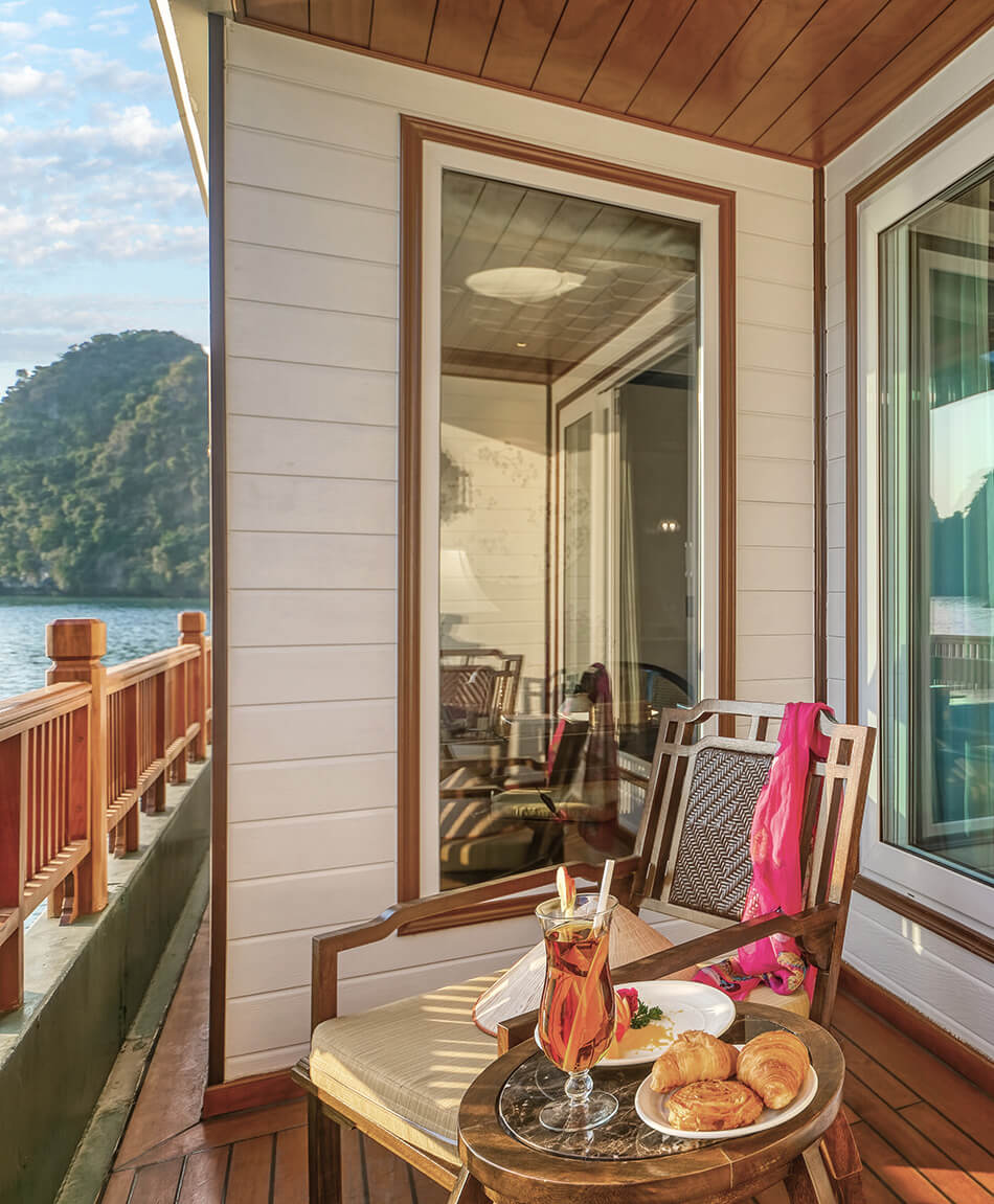 Breakfast is available from the comfort of your private balcony aboard Ylang