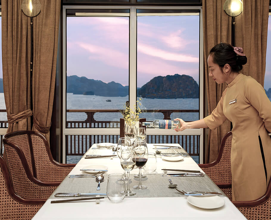 Personal service and marvelous views of Lan Ha Bay aboard the Heritage Line Ylang restaurant