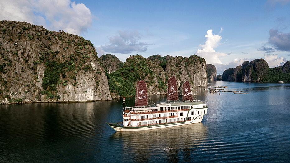 Heritage Line Ylang cruising through Lan Ha Bay's breathtaking scenery