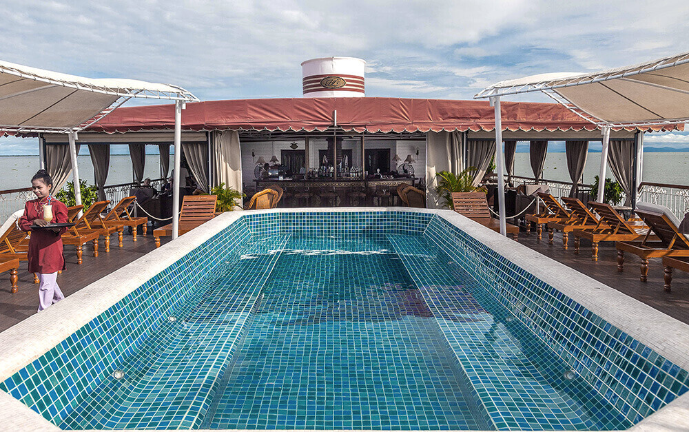 The Jahan's Terrace Deck features a jacuzzi pool and East India Club & Bar