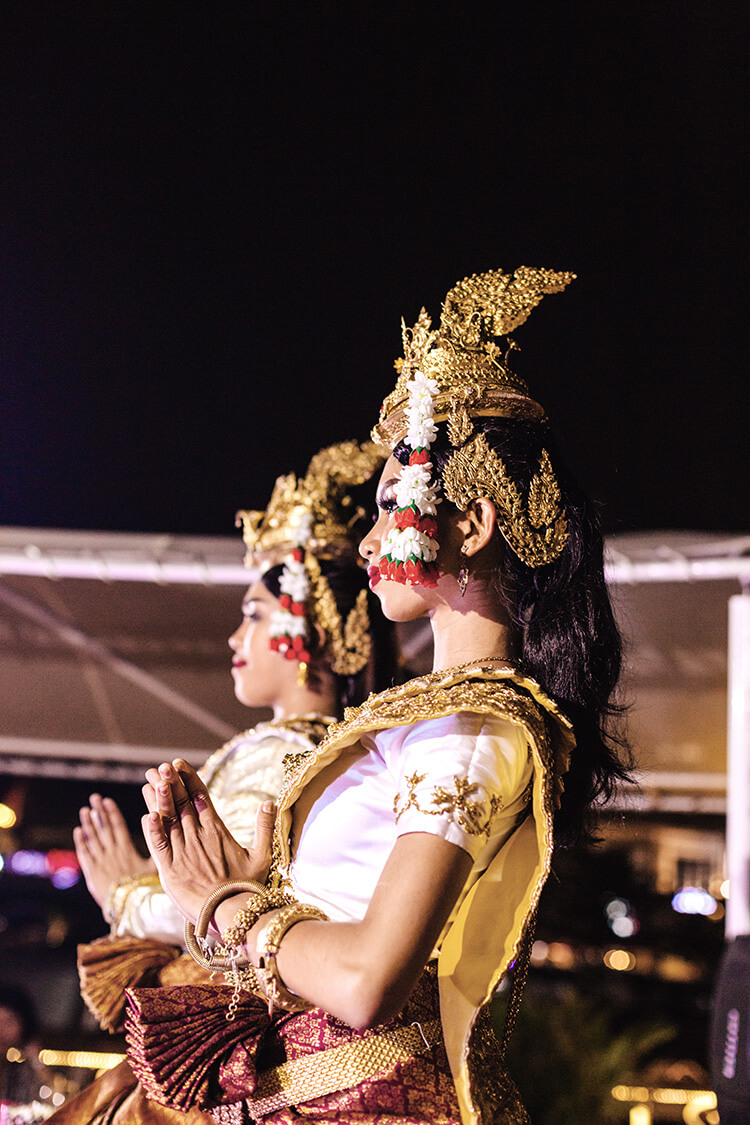 Beautiful Apsara dancers come aboard for a performance