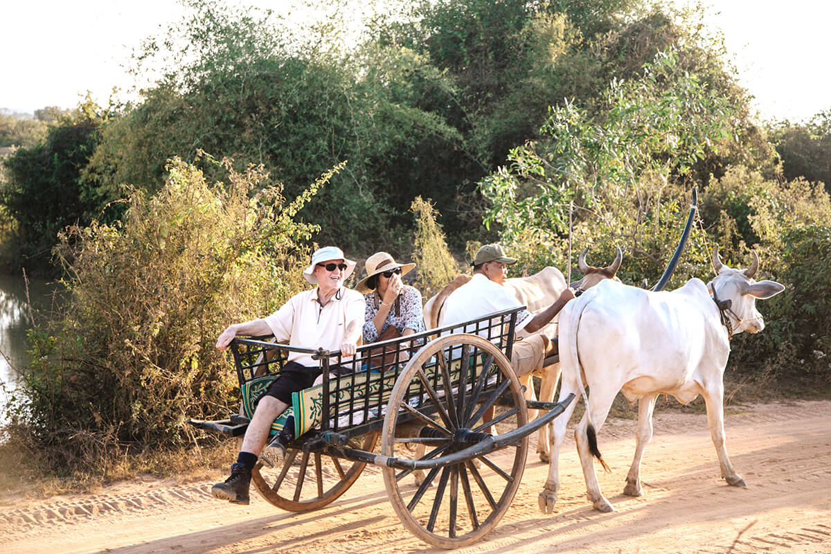 Embark on an oxcart ride through the Kampong Tralach countryside, along Cambodia's Tonle region