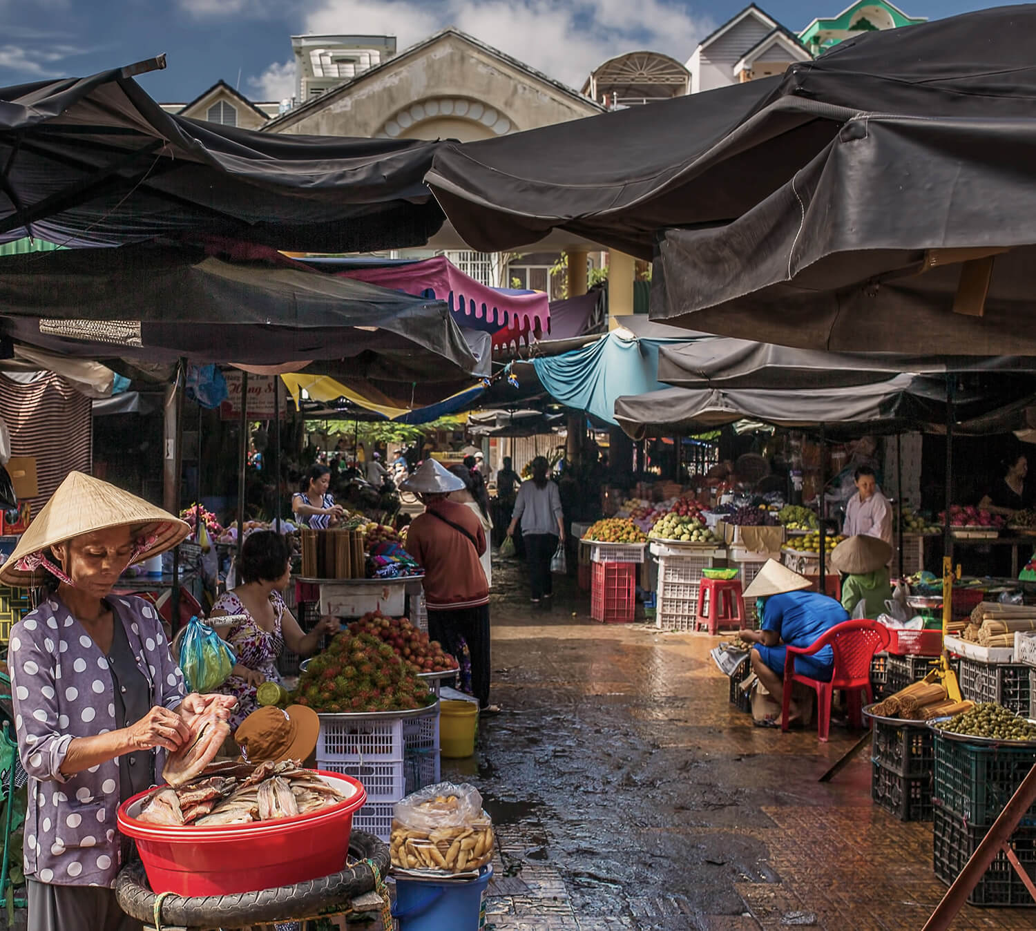 The colourful Tan Chau market in the Mekong Delta