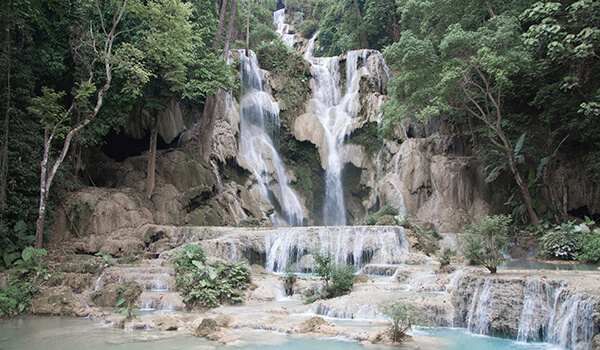 The stunning 60-metre high Kuang Si Falls