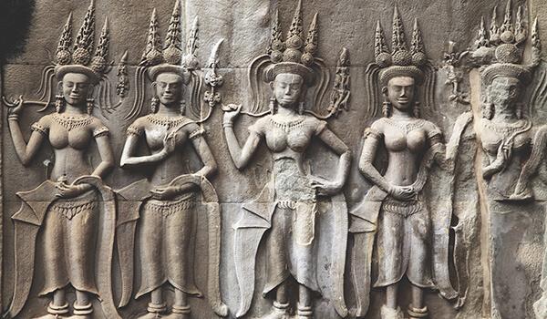 Apsara bas-relief at Angkor Wat in Siem Reap, Cambodia