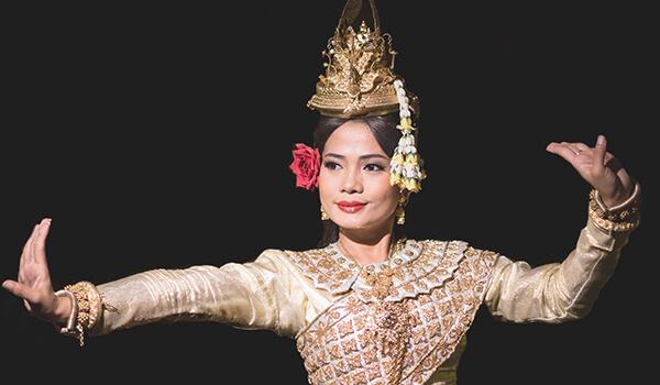 Apsara dancers aboard Heritage Line's luxury cruises