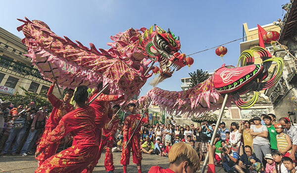 Dragon dance for Vietnamese Lunar New Year