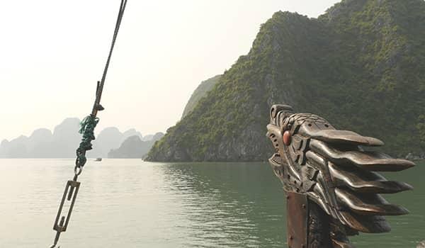 Dragon head on a ship in Halong Bay, Vietnam