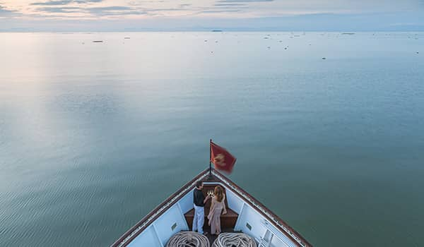 View of Tonle Sap Lake during wet season, aboard Heritage Line the Jahan