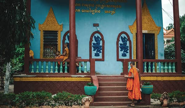 Monk at Wat Hanchey Temple in Kampong Cham, Cambodia