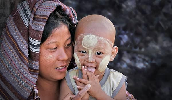 Burmese child wearing Thanaka