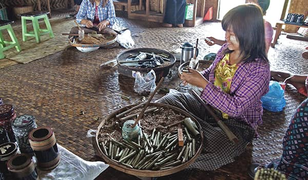 Local Burmese women making Cheroot cigars in a workshop