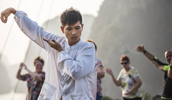 Tai chi expert on a Heritage Line cruise in Halong Bay